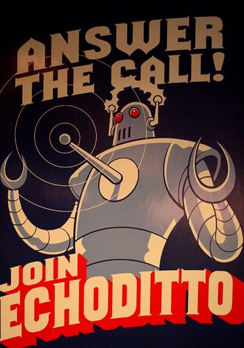 old-style classic robot poster art