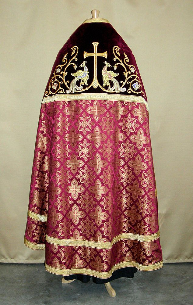 Burgundy embroidered Pascha Vestments