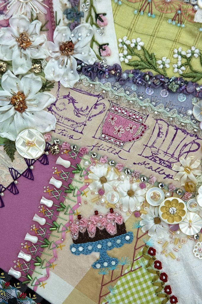 Crazy Quilt Embroidery Stitches - Ribbon Embroidery Beaded Stems On The Tulips | Crazy Quilt ...