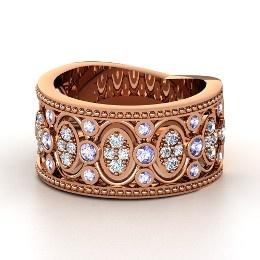 Renaissance Band, Rose Gold Ring with Tanzanite