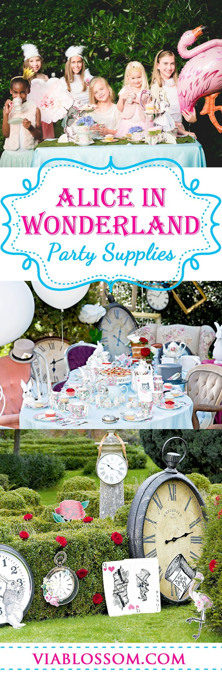 You don't want to miss our Mad Hatter Tea Party Ideas!!!  We have everything you'll need for a dreamy Alice in Wonderland Tea Party!  It's perfect for a Girl Birthday Party or any special celebration! #viablossom #madhatterteaparty #Aliceinwonderlandpartyideas #teapartyideas #madhatterparty