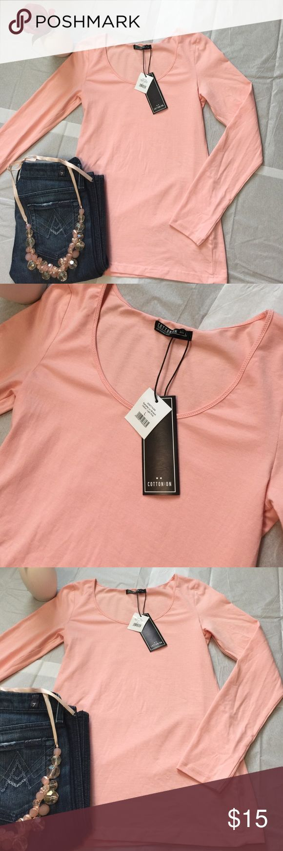 NWT Cotton On Everyday Long Sleeve Stretch-Large NWT Cotton On Everyday Long Sleeve Stretch-Large. Light Pink in color. 95% Cotton 5% Elastane. Perfect to wear by itself or for layering! Fast Shipping! Smoke Free Home! Open to offers on my items or 15% off bundles! 🌸Top 10% Seller!🌸 Cotton On Tops Tees - Long Sleeve