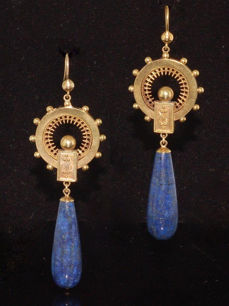 Victorian lapis earrings