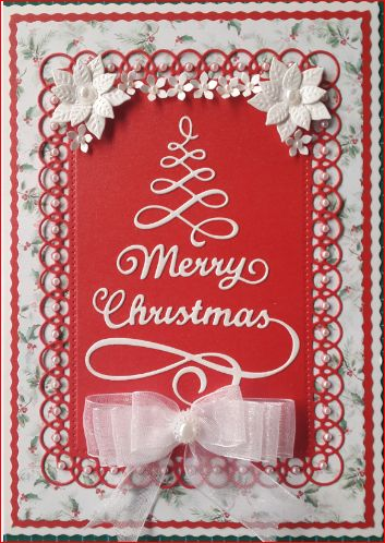 053_A5_Swirly Christmas Tree with Merry Christmas, Poinsettias and Decorative Frame and Ribbon. Handmade by Diane Prinsloo (Lubbe).