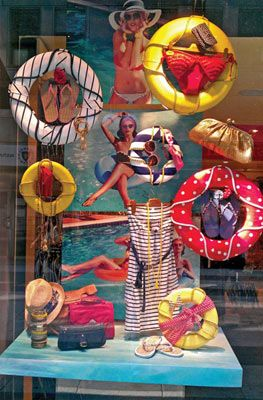 Nautical and Nice. Life preservers are lightweight and easy to suspend, and especially effective when used in window displays. You can spray-paint them or use various colors of electrical and duct tapes available at most craft and home improvement stores. Ropes add a nautical touch and provide a means of attaching products and accessories to the props.