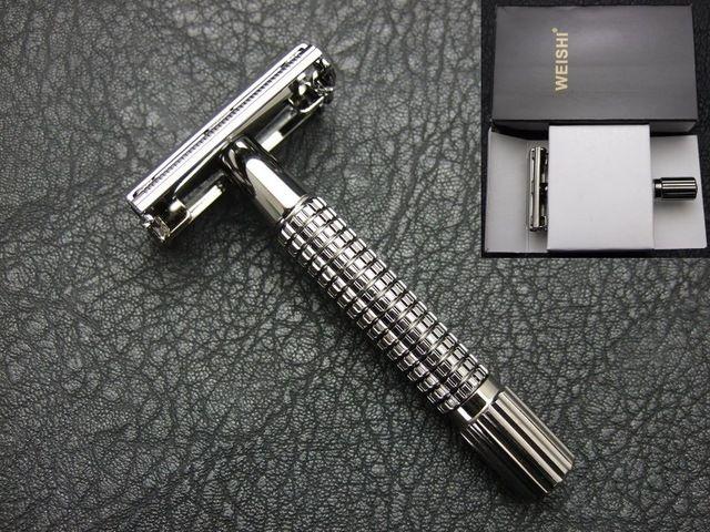 WEISHI Veiligheid Scheermes klassieke scheermes Messing scheermessen gun kleur licht zwart 9306-C met zwarte doos 10 STKS/PARTIJ NIEUWE
