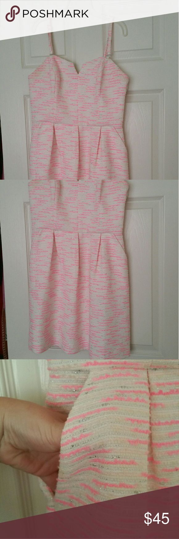 Pink and Cream Party Dress Moulinette Souers Pink, cream, and silver cocktail dress from the brand Moulinette Souers. Worn once. Size six, great condition. Smoke free home. Anthropologie Dresses Strapless