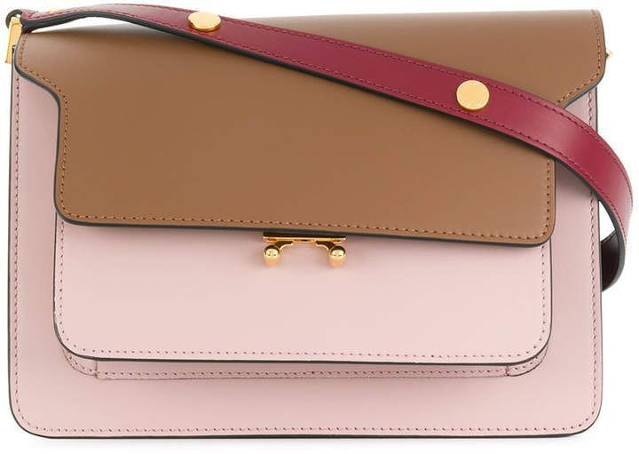 5730baae25 Marni medium Trunk shoulder bag. Pink calf leather medium Trunk shoulder bag  featuring a foldover