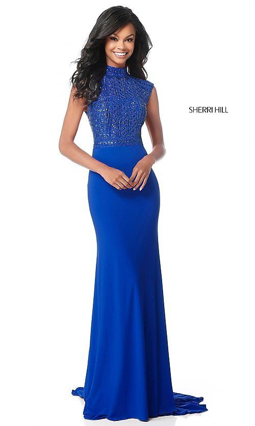 b1a2a30e6c950 Image of long mock-neck prom dress with beaded bodice. Style: SH-51876  Detail Image 3