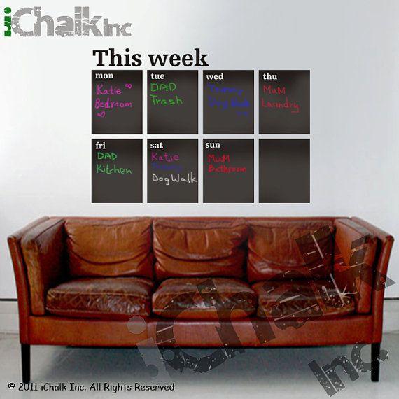 This Week Calendar Planner Chalkboard Sticker Wall by iChalkInc