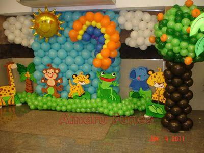 Set de fotos decoracion con globos motivo safari bebe - Decoraciones para bebes ...
