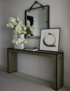 black and white-repurposed mirror and console