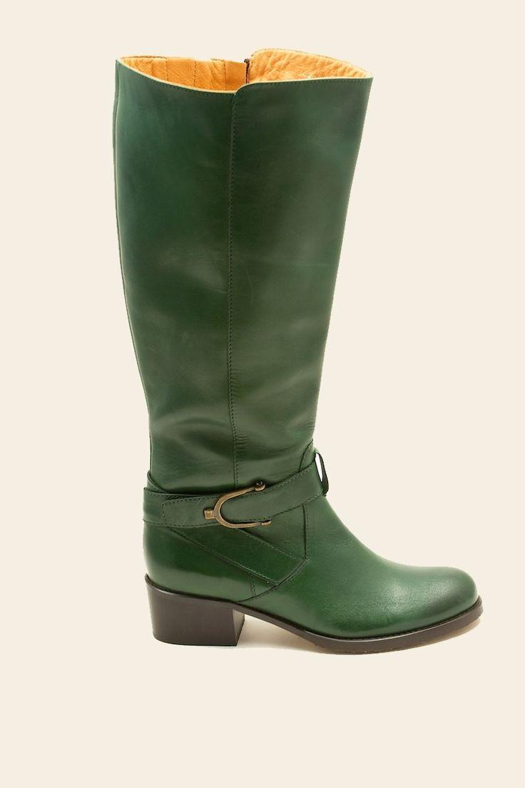 Trendy petrol groen / mosgroene laarzen met gesp en blokhak Rihanna 342003