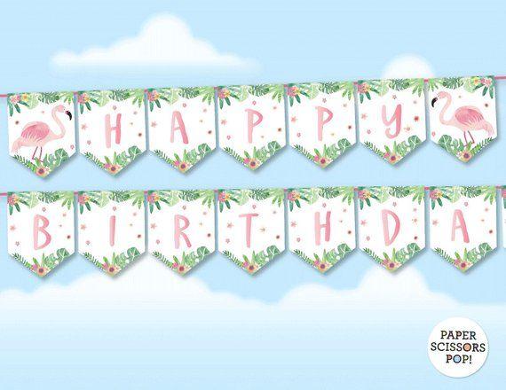 Pink Flamingo Birthday Banner Tropical Banner Watercolor Etsy En 2020 Decoracion Fiesta Tartas Navidenas Navideno