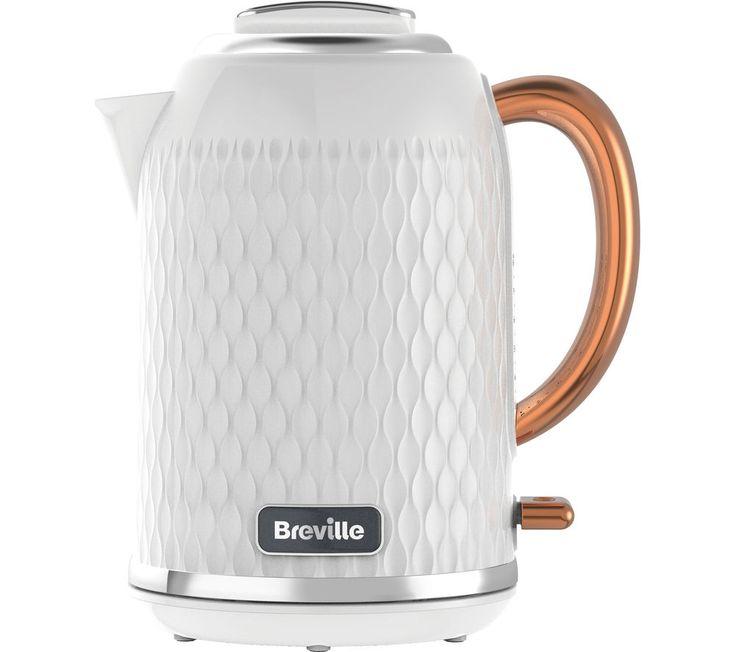 BREVILLE  Curve VKT018 Jug Kettle - White & Rose Gold +  Curve VTT787 4-Slice Toaster - White