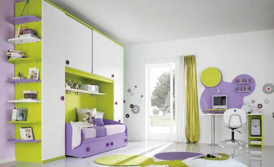 Bright Children Room With Purple Green Mickey Mouse Theme