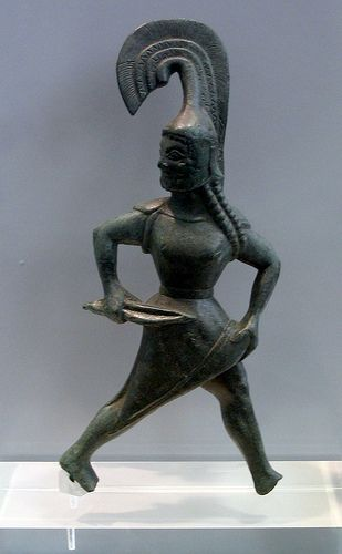 Brazen Amazon Bronze from Palaiokastro,Trikala,Thessaly 550-525 BCE Athens National Museum. In Greek attire.