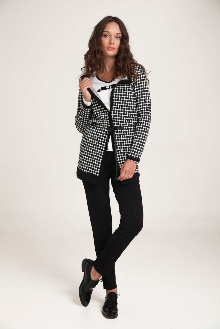 Long cardigan in check jacquard with contrast black edgings at neckline and hem. Adjustable waist with a drawstring and two concealed hook fastening. Combine with shirt and leggings for a fresh look. http://www.alexanderjacob.com/en/cardigans-bolero/147-long-check-cardigan.html