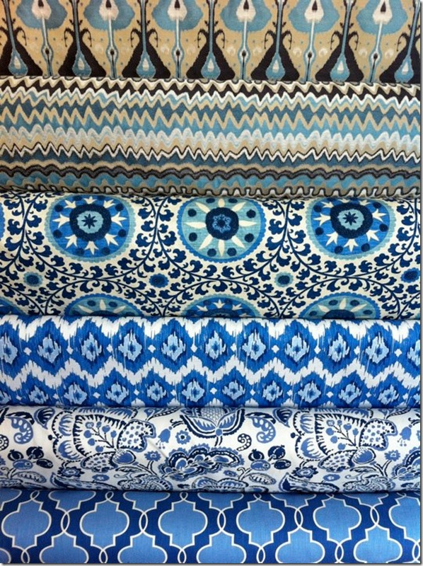 blue and white fabrics