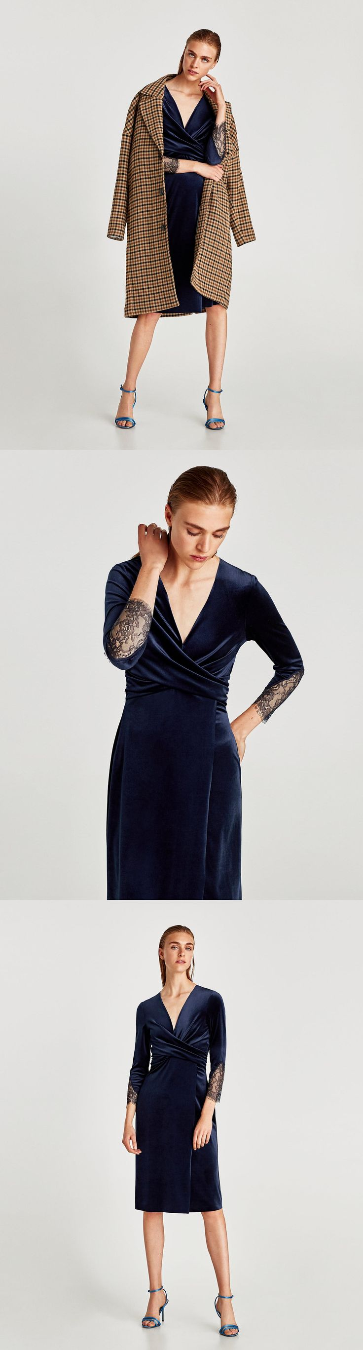Crossover Velvet Dress // clojure.lang.LazySeq@f09507a8 // Zara // Velvet midi dress with crossed neckline, long sleeves and lace detail on the sleeves. HEIGHT OF MODEL: 178 cm. / 5′ 10″