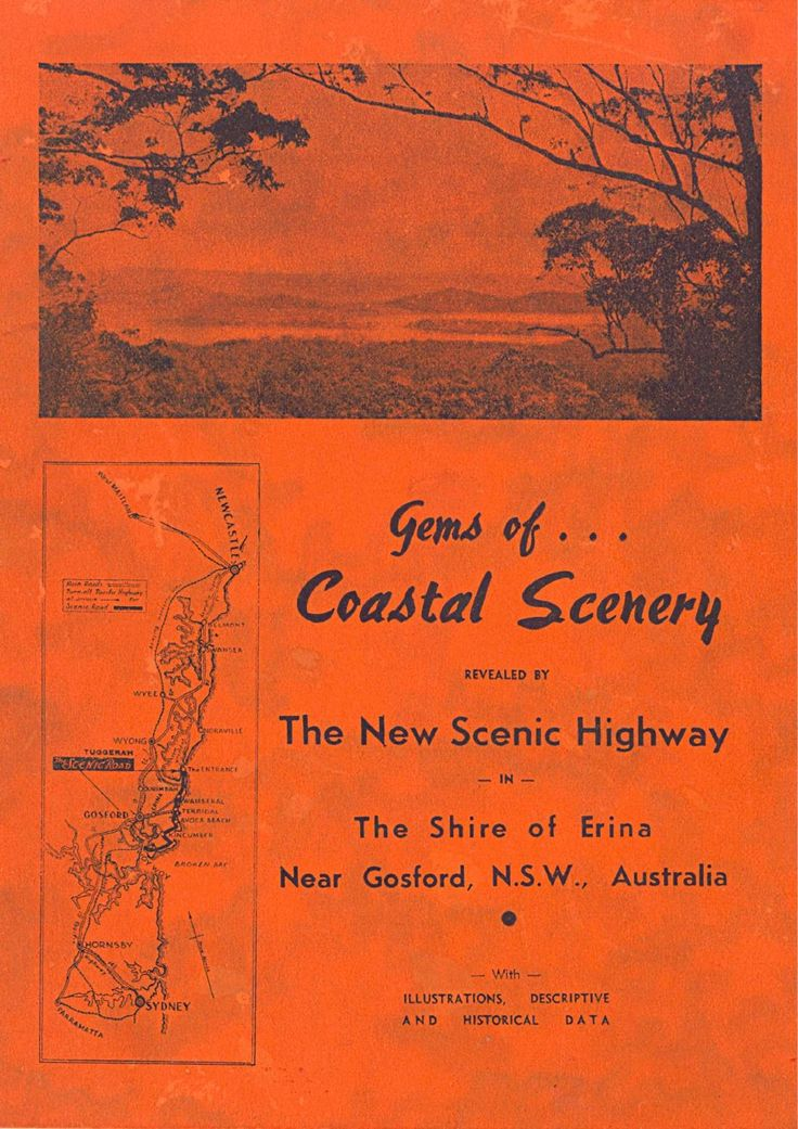 Gems of ... Coastal Scenery revealed by the new Scenic Highway in the Shire of Erina, near Gosford, NSW, Australia. (circa 1938). Original booklet from the Collection of Gosford City Library.
