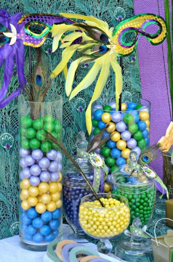 Green, Purple, and Yellow candies for Mardi Gras birthday party