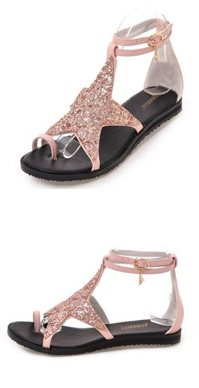 c504473ad Ladies Pink Star Ankle Strap Summer Sandals | Shop For PINK | Shoes ...