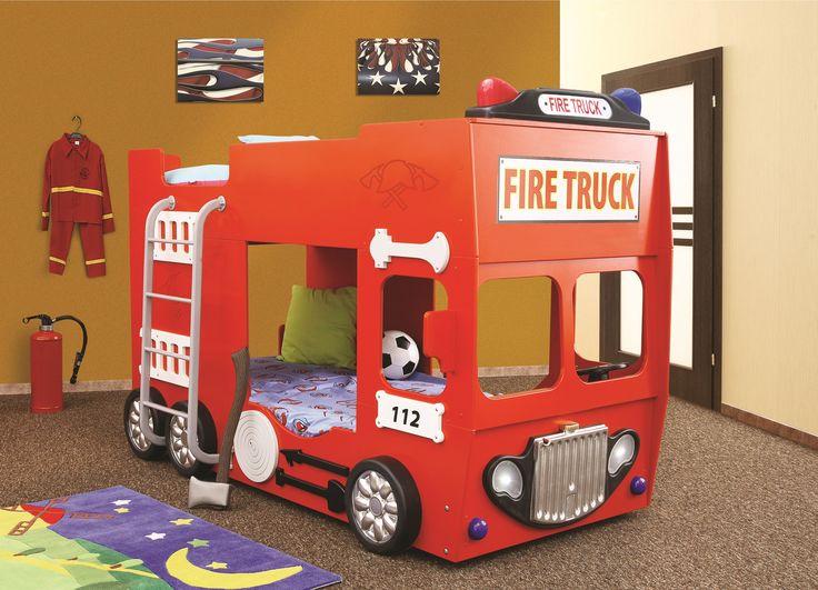 Feuerwehrbett - Etagenbett Ein Traum in Rot.  #etagenbett #kinder #rot