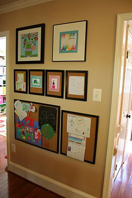 Old frames and cork board- instant kids art display