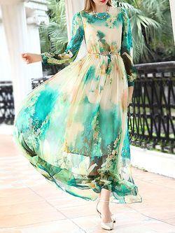 Printed Silk #Maxi #Dress