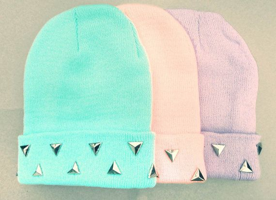 Pastel Grunge Beanie // Pastel Goth Hat // Triangle Studded Pastel Beanies // Blue Pink Purple Beanies Creepy Cute Punk Soft Grunge Kawaii