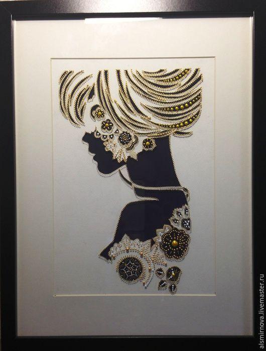 Люди, ручной работы. Ярмарка Мастеров - ручная работа. Купить картина на стекле - Девушка. Нежный силуэт.. Handmade. Золотой