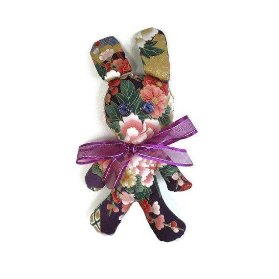 Bunny Rabbit Plushie Soft Toy Designer Floral by MissTreeCreations, $25.00
