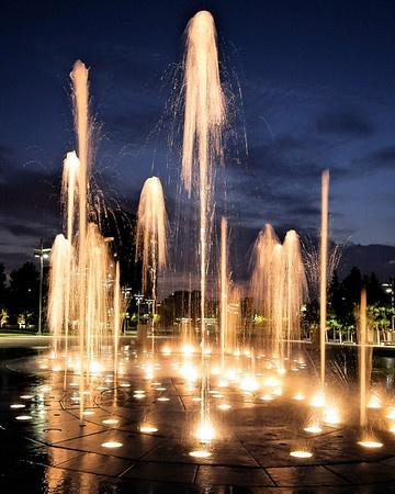 Fountains outside the Eismann Center, Richardson, TX