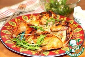Цыплята, маринованные в лимонно-масляном маринаде... Цыпленок (весом 600 г или курица, порезанная на куски) — 2 шт Масло оливковое (или любое растительное) — 150 мл Сок лимонный — 100 мл Тимьян (сухой) — 2 ч. л. Чеснок (или чесночный порошок - 1 ст.л.., что более предпочтительнее) — 2 зуб. Соль Перец черный (молотый)
