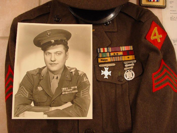 Sgt Stanley Joseph Kurtyka was awarded the Silver Star for conspicuous gallantry on Iwo Jim for actions on March 13th 1945. At the time, he was serving as a rifle squad leader of Company F, 2nd Battalion, 25th Marines.    According to his discharge, Sgt Kurtyka participated in action against the enemy at Kwajalein Atoll, Saipan, Tinian, and Iwo Jima. This Marine saw a lot of action !!!