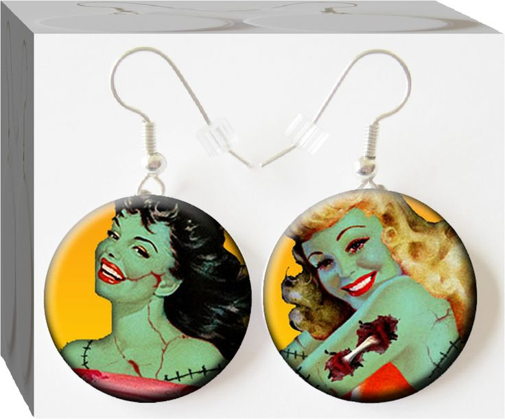 Too funny! The Cutest Zombie Pin Up Girls you have ever seen on #Button Charm Earrings! (Well has anyone ever really seen a Zombie?!)