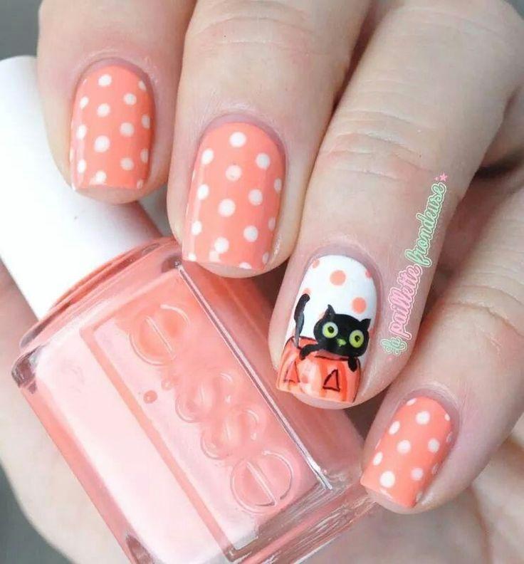 Adorable black cat nails