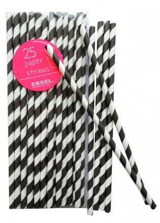 Paper straws stripe black