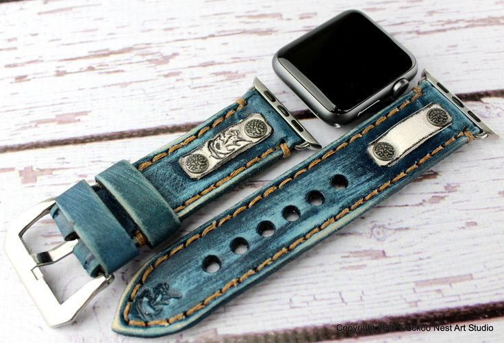 Denim Blue Leather Apple Watch Band for 38mm and 42mm Apple Watch, Leather Apple Watch Band, Custom Apple Watch Strap, Anniversary Gift by CuckooNestArtStudio on Etsy https://www.etsy.com/listing/529491127/denim-blue-leather-apple-watch-band-for
