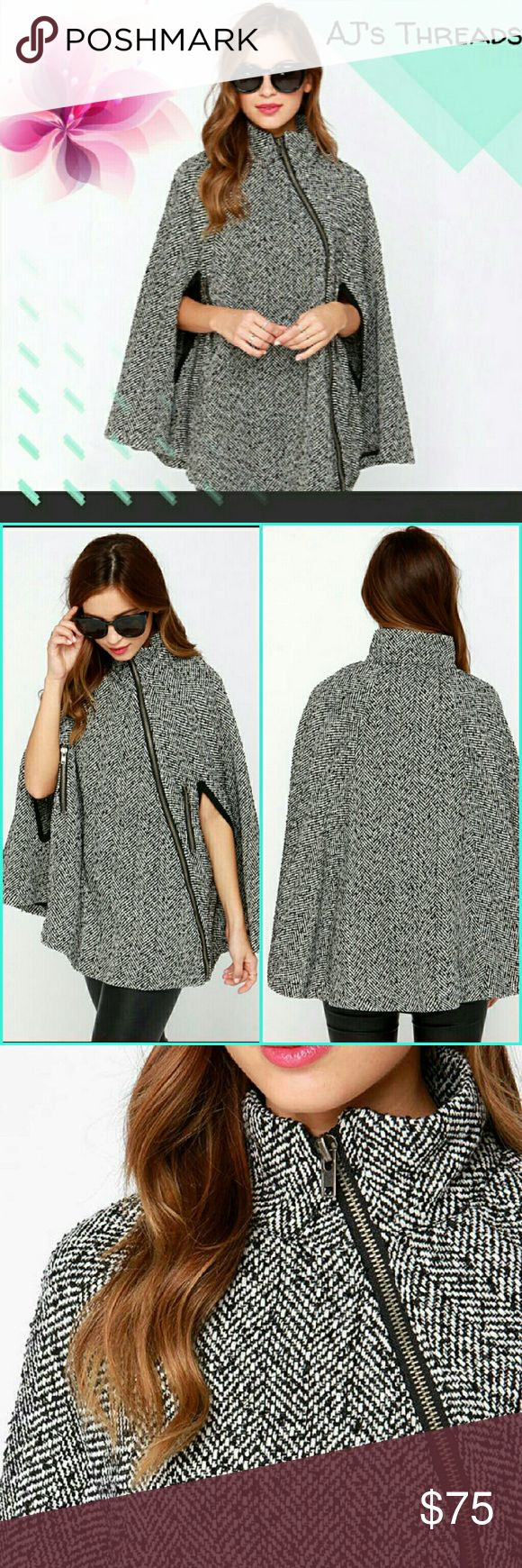 Spotted while shopping on Poshmark: Tweed side zip fashion cape coat! #poshmark #fashion #shopping #style #Jackets & Blazers