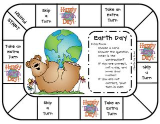 a new game with an Earth Day theme. It's a review for recognizing contractions and their spelling.  Just add a die, game markers, a friend and you're ready to play!