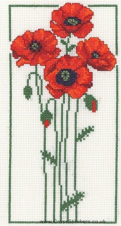 Poppies Cross Stitch Kit from Classic Embroidery