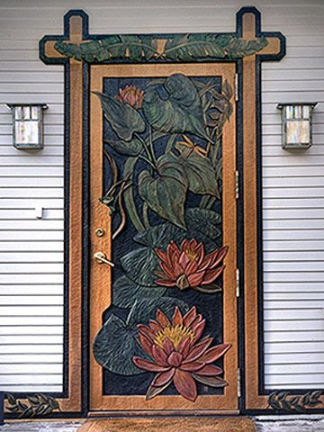 Beautiful water lily carved door - what a treat to have this on your house!