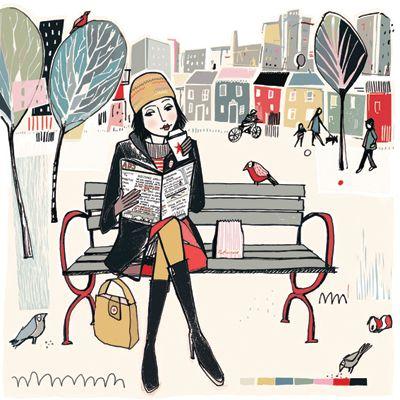 A Walk, A Book by Anna HymasBookish Art, Anna Hyma, Reading Art, Winter Reading, Book Fun, Libros Anna, Woman Reading, Book Reading, Art Inspirationa
