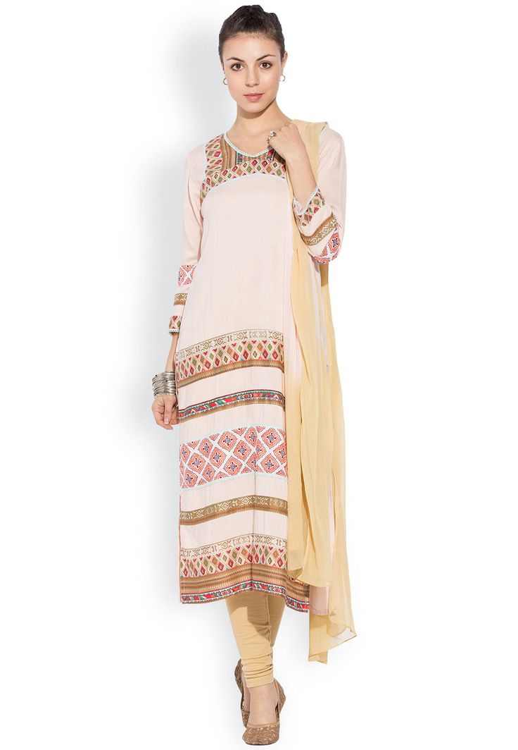 Buy Printed Straight Cut Suit in Beige online,Item code: KNF223, Occasion: Casual, Festival, Work: Abstract Print, Contemporary, Fabric: Cotton, Gender: Women