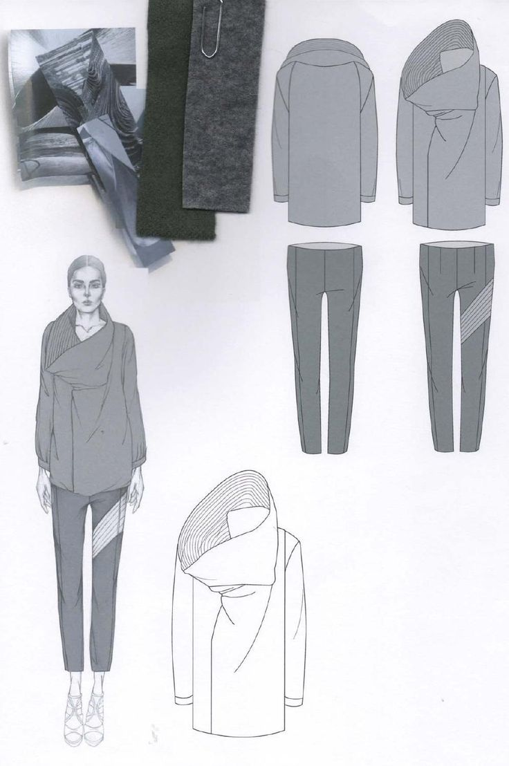 Fashion Sketchbook layout with fashion drawings & fabrics; fashion portfolio // Emily-Mei Cross