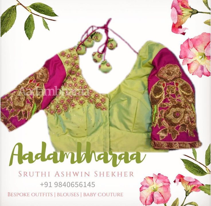Chirpy Designs  . . #designer #blouses #instadaily #instagood #instapost #instalove #ootd #handembroidered #pink #flowers #parrots #unique #classic #zardosi #outfitoftheday #customize #designerwear #indianoutfit #indian #ethnic #floral #india #designerwear #aadambharaadesign #aadambharaachennai #chennai