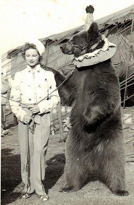 Woman  & Dancing bear at the Circus