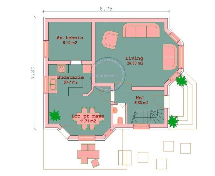 proiecte de case pe teren de 300 mp 1 plan parter